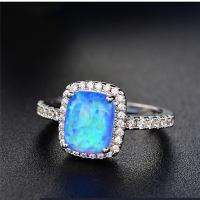 POLIVA USA Hotselling Small Size  Synthetic White Opal Gems Solitaire Ring