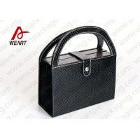Black Textured Leather Cosmetic Paper Box With Handle & Powder Compact