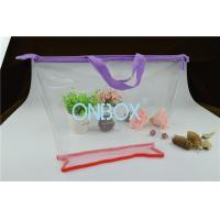 China Ladies Cosmetics High Clear PVC Bag / Carrying Bag With Purple Zipper Closure on sale