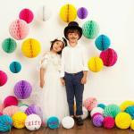 Boule de fleur de Pom Pom de boules de nid d'abeilles de papier de soie de soie de métier de papier de décoration de mariage de partie
