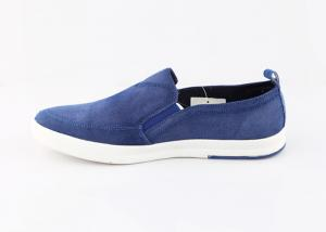 China Comfortable Custom Blue Slip On Canvas Deck Shoes , Boys Canvas Slip On Shoes on sale