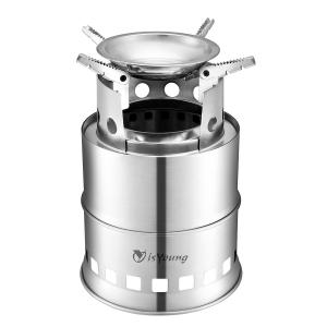 China Stainless Steel Wood Burning Camping Stove With 4 Flexible Non Slip Arm on sale