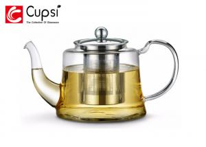 China Loose Leaf Borosilicate Glass Teapot 1100ml With Stainless Steel Infuser on sale