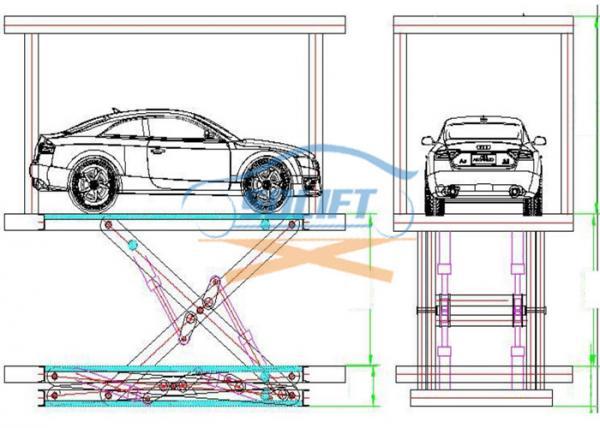 Blue Color Hydraulic Scissor Car Lift Garage Car Elevator For