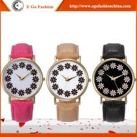 GV16 PU Leather Band Flower Plates Watch for Woman Women Quartz Watch Geneva Unisex Watch
