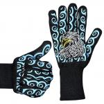 Silicone Print Heat Resistant Hand Gloves / Barbecue Grilling Glove Lightweight