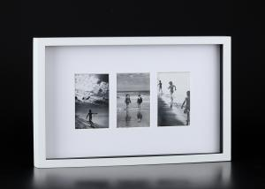 China Flat Top Matted Wall Hanging Collage Picture Frames With 3 Openings And Colorful Facepaers on sale