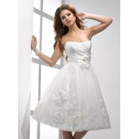 Fall A linie Organza Short Brides Dresses With Flowers Waist Band