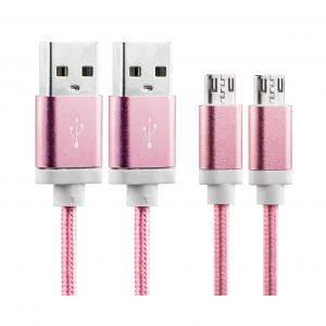 China Premium Phone Android Charger Cable , Pink Micro Usb Extension Cable PVC Layer Coating on sale