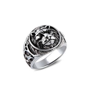 China Sterling Silver Lion Men Thailand Vintage Silver Ring (R6030805) on sale