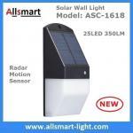 O jardim solar do diodo emissor de luz da luz solar 25 da parede ilumina luzes solares brancas mornas da cerca da luz decorativa do movimento do sensor de radar da cerca