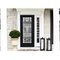 China Elegant Inlaid Wrought Iron Glass / Decorative Door Glass For Building Hand Forged Textures on sale