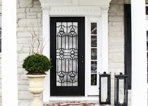 China upgrading  Elegant Inlaid Door Wrought Iron Glass For Building Hand Forged textures on sale