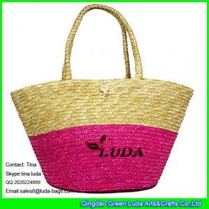 China LUDA wheat straw shoulder beach bag fashion lady straw hand bag on sale