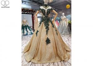 China Sparkly Gold Off The Shoulder Prom Dress Green Lace Short Sleeve Sweep Train on sale
