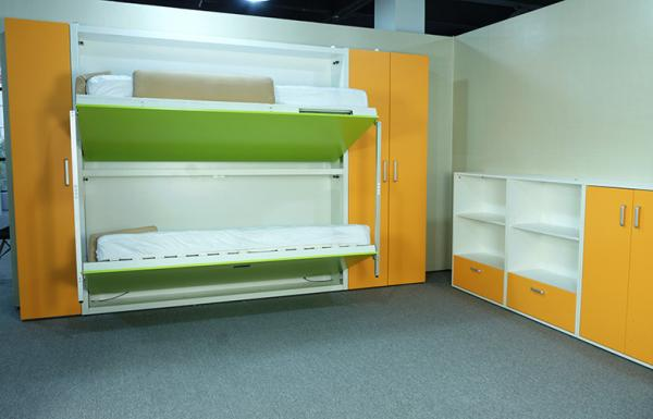 Transformable Hidden Bunk Wall Beds Mechanism For Space Saving , Echo  Friendly Material Images