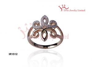 China High Polished Flower Shaped Micro Pave White Zircon Yellow Gold Plated 925 Sterling Silver Ring on sale
