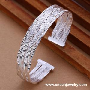 China Flat mesh grid bracelet hot Nestest Wholesale 925 Sterling Silver Charms bracelets bangles on sale