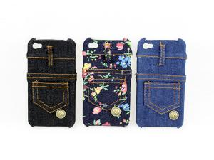 China Stylish jeans printing real Jean fabric materials genune iphone 4 protective cases --I4-06 on sale