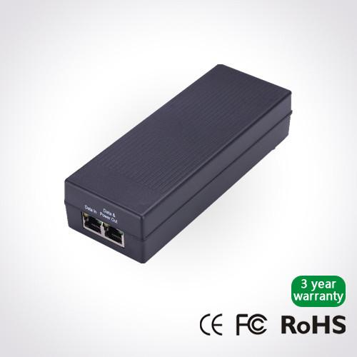 Gigabit 30W PoE Injector with IEEE803 3af/at standard for
