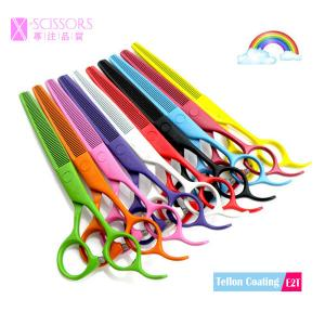 China Colorful Teflon coating SUS420J2 Stainless Steel Thinning Scissors E2T on sale