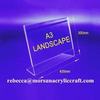 Plexiglass Table Tent Sign Holder L Shape Acrylic Menu Holder A3 Landscape SINGLE SIDED