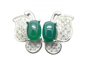 China Rhodium Plated Butterfly Sterling Silver Earrings With Clear Zircon And Green Carnelian on sale