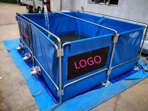 China 5000L Flexiable Water Tank With Metal Frame PVC Tarpaulin Foldding Fish Tank on sale