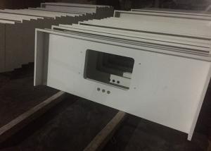 China Pure White Quartz Kitchen Countertops , 45 Degree Edge Faux Quartz Countertops on sale