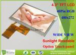 4.3 Inch Touch Screen High Brightness TFT Display 1000Cd / M² 480 X 272 Resolution