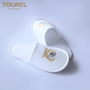 China White Spa Slipper High Quality Indoor Slipper Wholesale With Custom Embroidery Logo on sale
