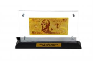 China US Money $10 Dollars Gold Banknote Gold Plated Hold Into Acrylic Photo Frame on sale