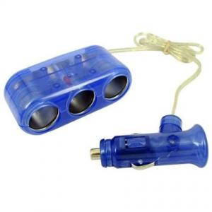 China Blue 1 To 3 Car Socket Splitter , Portable Car Cigarette Lighter Adapter on sale