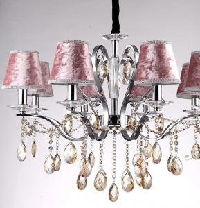 China Lint Cloth Pink Lamp Shade Europe Retro Cognac color Crystal Pendant Lights(E14 or Led) on sale