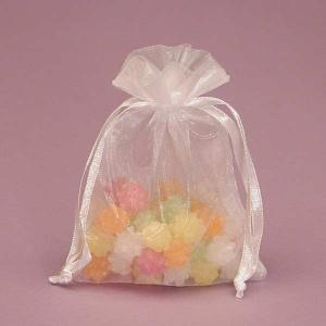 China Wedding Decoration Drawstring Organza Gift Bags With Flat Bottom on sale