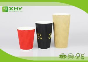 China 24oz Corrugated Bigger Recycled Ripple Paper Cups With Neutral Red Black Color Printing on sale