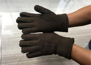 China Handsewn Sueded Lamb Shearling Gloves , Black Mens Winter Mittens on sale