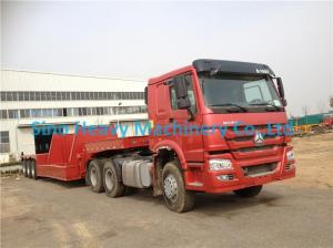 China Red HOWO 2 Axles Semi Trailer Trucks , Flat Low Bed Trailer 30 Ton on sale