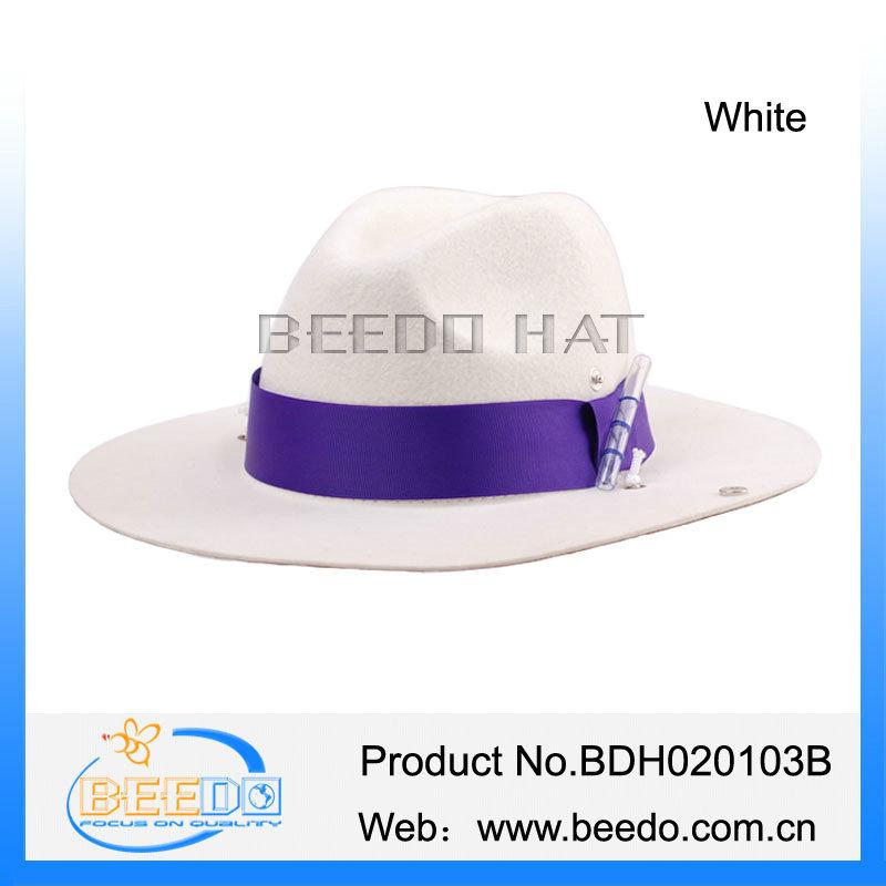 ad6baf4e28f China cowboy hat white 100% wool felt cowboy hat with purple ...