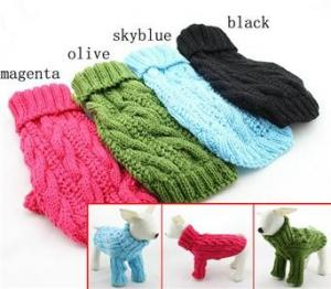 China Winter Pet Long Sleeve Dog Turtleneck Sweater Hand Knitting Labrador Apparel on sale