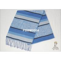 Horizontal Stripes Woven Silk Scarf Long Blue And White For Boy