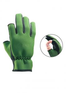 China M L Lightweight  Black / Green 2mm Dots Fishing Neoprene Waterproof Gloves on sale