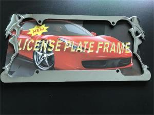 China Slim Style Car License Plate Frame Durable Zinc Die Cast Metal Frame on sale