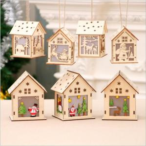 China Wooden Christmas house hanging decoration with LED light on sale