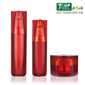 China 60ml Red Lotion Pump Bottles Clear Recycled Plastic For Cosmetic Packaging on sale