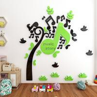 China supplier Acrylic Mirror Wall Stickers /Adhesive Decor Wall music tree wall sticker mirror