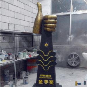 China customize size party decoration large golden finger thrumb statue as decoration statue in shop/ mall /event on sale