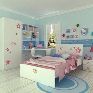 China Kids' Bedroom Wooden Furniture/Star Girls' Bedroom Set with E0 Grade Panel, KT Design on sale