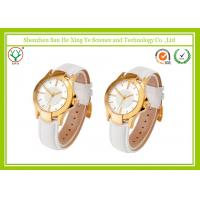 White Leather Band Casual Sport Couple Wrist Watches Waterproof 3ATM