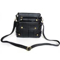 Fashion Design Black Real Leather Trendy Unique Shoulder Messenger Bag #2013